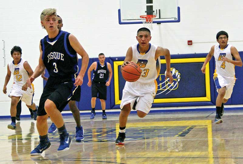 Bloomfield guard Malachi Pablo (23) runs a fast break against Bosque. The Bobcats are looking to contend in District 1-4A. (Times photo – Sunnie R. Clahchischiligi)