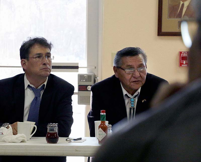 Navajo Nation President Ben Shelly, right, sits in a meeting with new council members at Quality Inn on Thursday, Jan. 22, 2015, in Window Rock. (Times photo - Stacy Thacker)