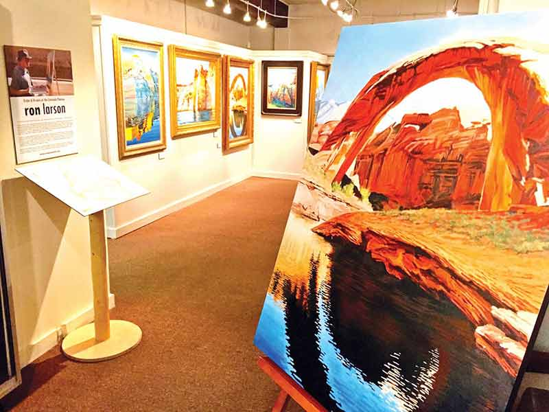 "A new exhibit entitled ""Vistas & Visions of the Colorado Plateau"" by Southern Utah artist Ron Larson is now on display at the Powell Museum in Page, Ariz. The museum hosted an opening night on Feb. 6. (Times photo – Krista Allen)"