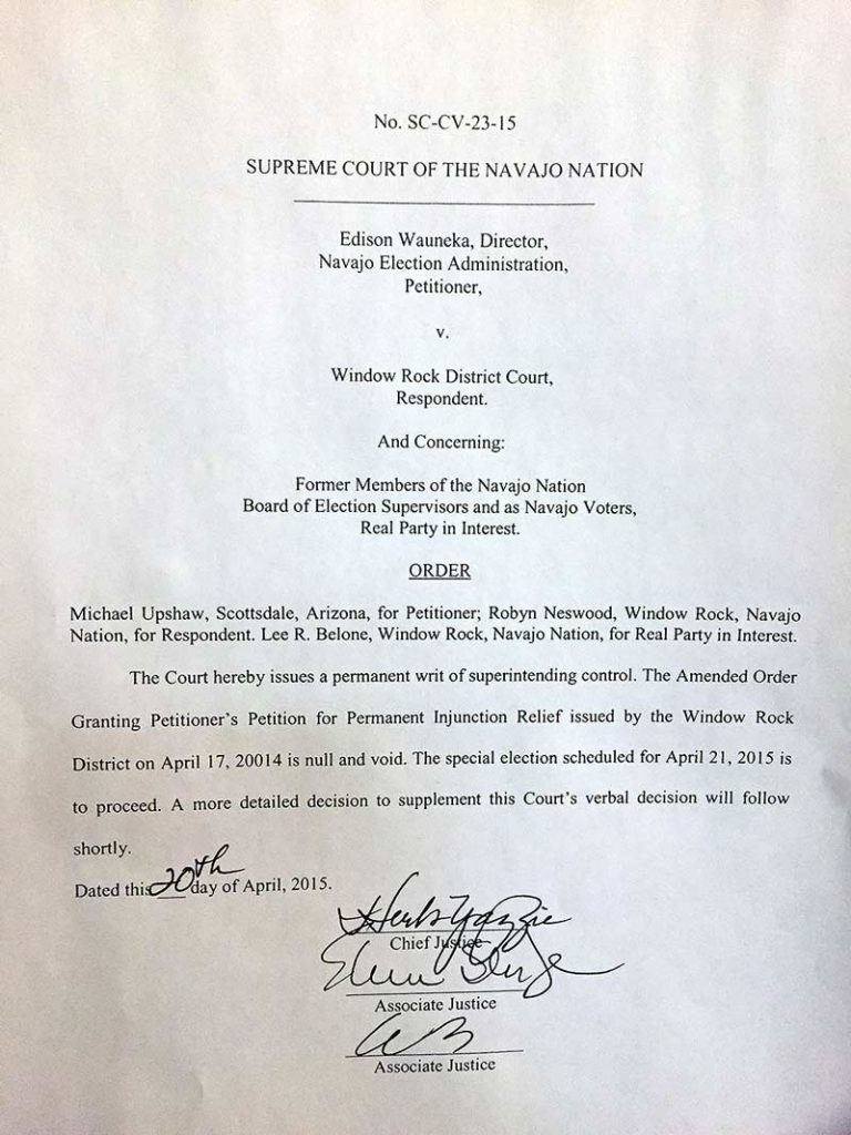 "A copy of a letter from the Navajo Nation Supreme Court ruling on Monday states that Tuesday's election will take place after ""null and voiding"" the district court's Friday's decision. (Times photo - Donovan Quintero)"
