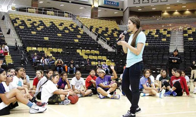 Schimmel visits Navajo Country, motives youth at basketball clinic
