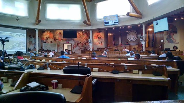 Members of the New Mexico Department of Health, San Juan Medical Center and Navajo Council gather at the Navajo Council Chambers to discuss the current status of the Animas River contamination. (Times Photo - Terry Bowman)