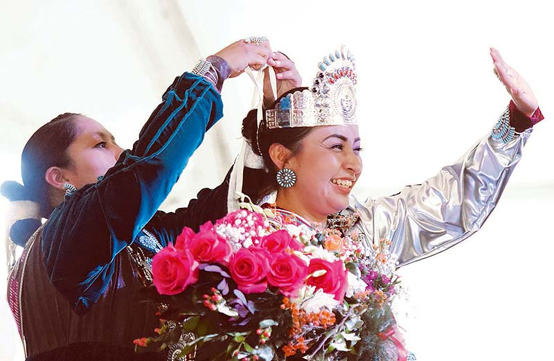 Navajo Times   Donovan Quintero Newly crowned Miss Navajo Nation Alyson Jeri Shirley from Tolani Lake, Ariz. waves to the audience as outgoing Miss Navajo McKeon Dempsey crowns her on Saturday during the 69th annual Navajo Nation Fair in Window Rock.
