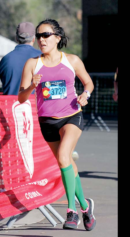 Navajo Times   Courtesy Photo Chinle-born Navajo Linnabah Snyder runs the Colorado Half Marathon in Fort Collins in May 2015, before she qualified for the February Olympic trials at the at the California International Marathon on Dec. 4.