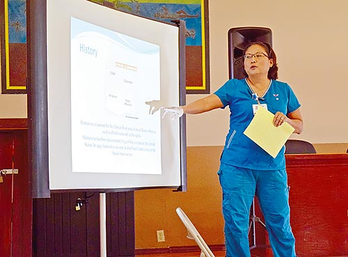 Navajo Times | Krista Allen Bertha Yazzie, a community health worker in Coalmine Canyon, Ariz., points out on Jan. 28 that a hantavirus outbreak occurred in the Four Corners about 23 years ago.