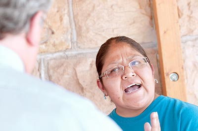 Navajo Times | Donovan Quintero Aunt of Loreal Tsingine, Floranda Dempsey, speaks to Winslow City Manager Steve Pauken Tuesday after a meeting at the Teesto Chapter House in Teesto, Ariz. Dempsey told Pauken her and her family did not appreciate not being acknowleged by him and Winslow Police Department Chief Stephen Garnett.