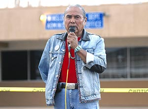 "Navajo Times | Donovan Quintero Shiprock Chapter President Duane ""Chili"" Yazzie speaks during a protest rally in front of the Winslow Police Department in Winslow."