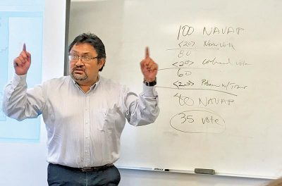 Man stands pointing fingers up in air, in front of whiteboard with numbers.