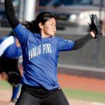 Young phenom showcasing softball skills for college coaches