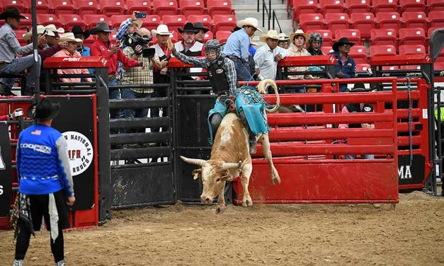 Nez only bull rider to cover 2, leads in points