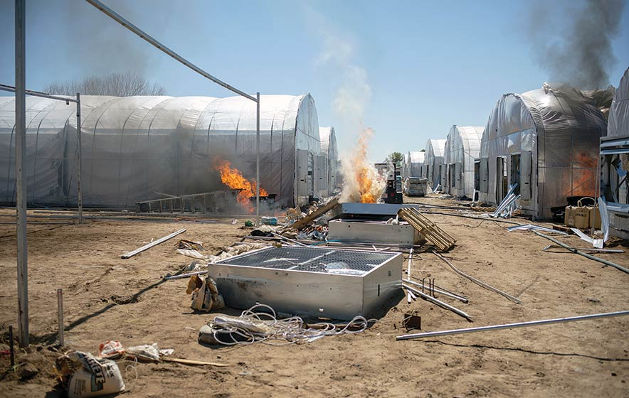 Hemp hoop house nearly destroyed by fire