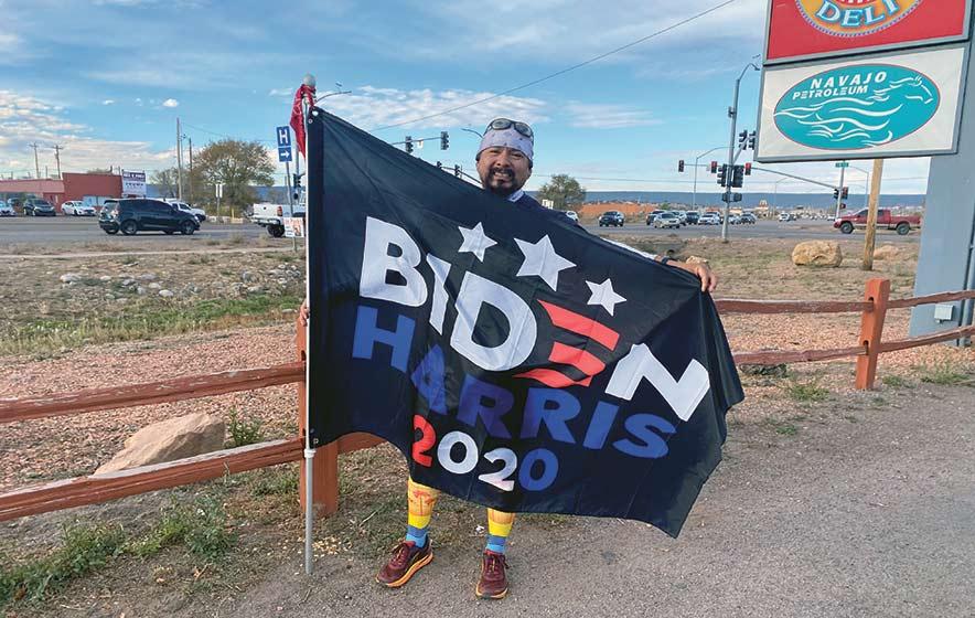 Runner carries flag for Biden-Harris