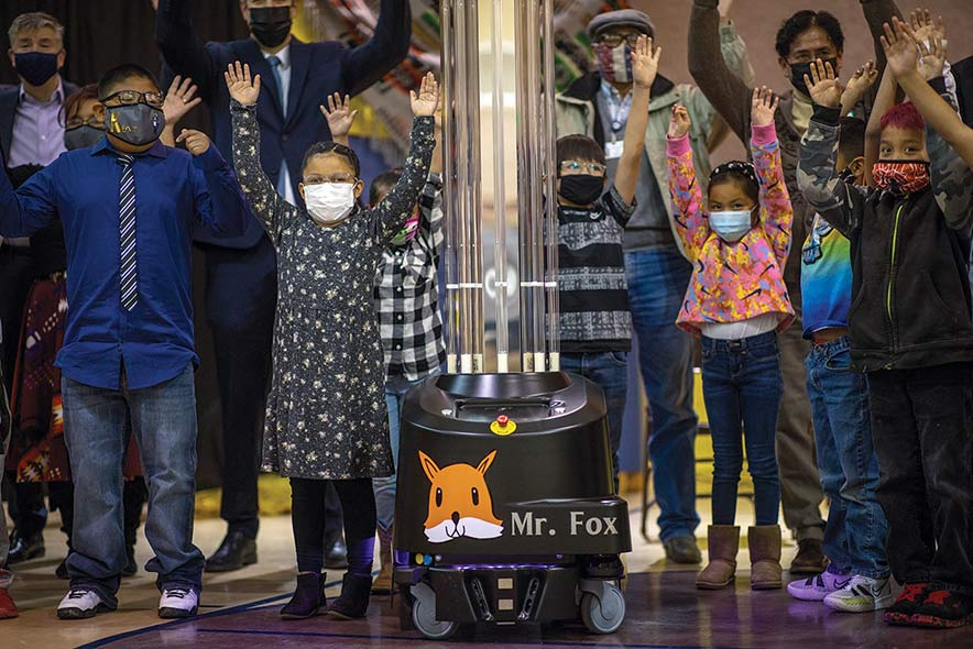 Mr. Fox takes on COVID-19 : Schools using 37 robots to zap virus