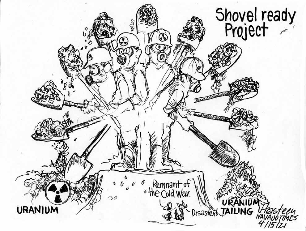 Shovel ready project. Minors tossing shovels int he dir for unranium and tailings. Sidekicks call it a remnant of the cold war and a disaster.