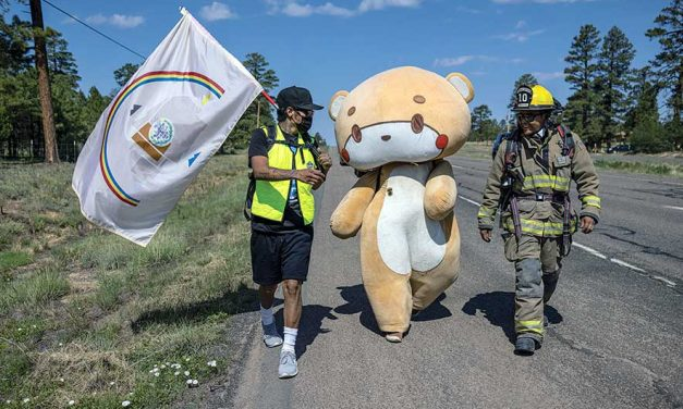 Diné reach out, embrace Bearsun:  Man walks for donations for mental health, autism, cancer, the disabled community and environment